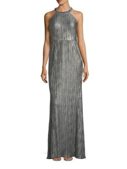 Adrianna Papell Crinkled Floor-Length Gown