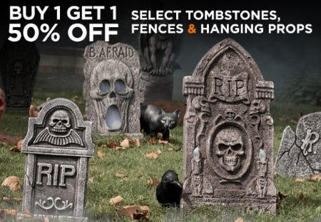 BOGO 50% Off on Select Tombstones, Fences & Hanging Props from Spirit Halloween Superstores