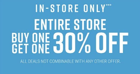 BOGO 30% Off Entire Store
