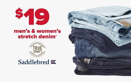 $19 Men's & Women's Stretch Denim from Belk