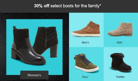 30% Off Select Boots for the Family