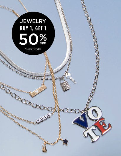 Jewelry Buy 1, Get 1 50% Off