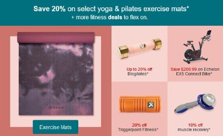 Save 20% on Select Yoga & Pilates Exercise Mats