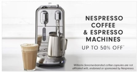 Up to 50% Off Nespresso Coffee & Espresso Machines from Williams-Sonoma