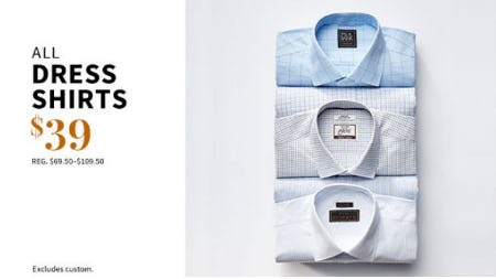 All Dress Shirts $39 from Jos. A. Bank