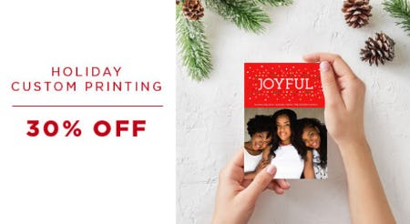 30% Off Holiday Costum Printing from PAPYRUS