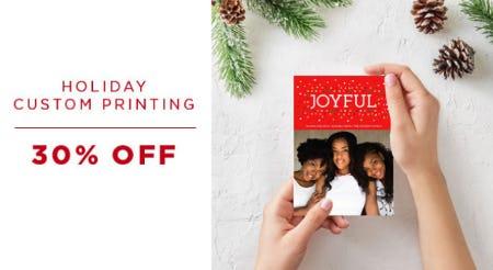 30% Off Holiday Costum Printing