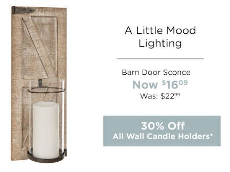 30% Off All Wall Candle Holders from Kirkland's