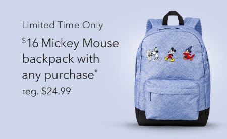 $16 Mickey Mouse Backpack with Any Purchase from Disney Store