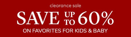 Clearance Sale: Save Up to 60% on Favorites for Kids & Baby from Pottery Barn Kids