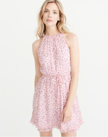 High-Neck Floral Chiffon Dress from Abercrombie & Fitch