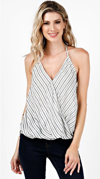 Striped Wrap Halter Top from Angl