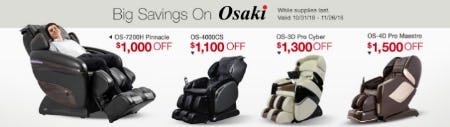 Big Savings On Osaki Up to $1,500 Off from Costco