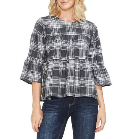 Tier Plaid Bell Sleeve Blouse