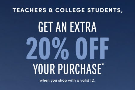 Teachers & College Students Get an Extra 20% Off on your Purchase from J.Crew Mercantile