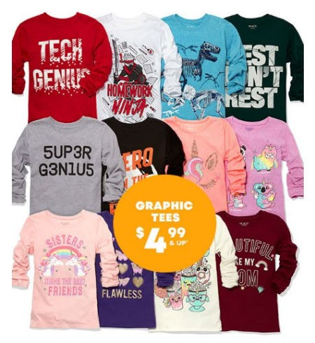 Graphic Tees $4.99 & Up from The Children's Place