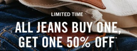All Jeans Buy One, Get One 50% Off from Abercrombie & Fitch