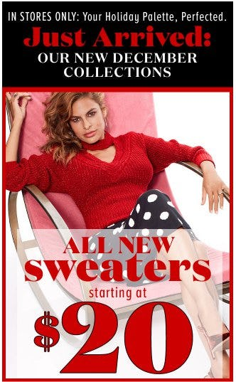 All New Sweaters Starting at $20 from New York & Company