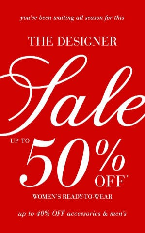 Up to 50% Off Designer Sale from Saks Fifth Avenue