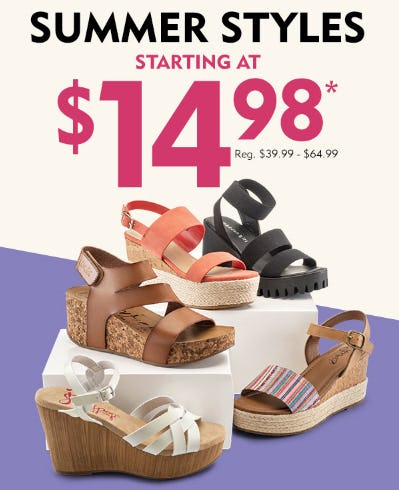 Summer Styles Starting at $14.98 from Shoe Carnival