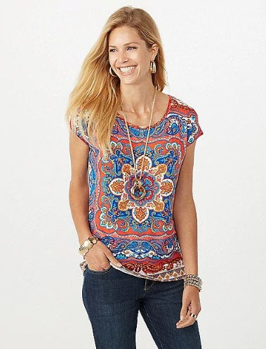 Embellished Print Tee from Dress Barn, Misses And Woman