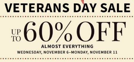 Veterans Day Sale from Jos. A. Bank