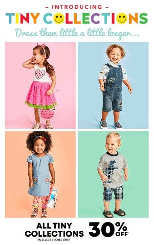 All Tiny Collections 30% Off from The Children's Place