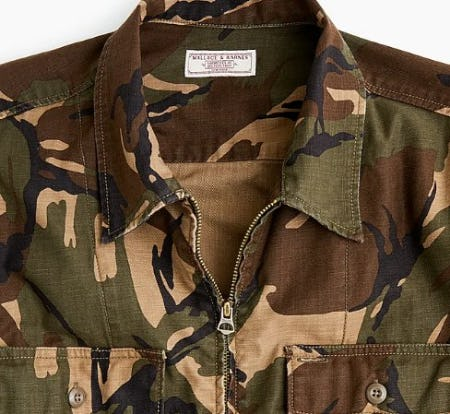 Wallace & Barnes Zip-Front Twill Shirt-Jacket in Camo from J.Crew
