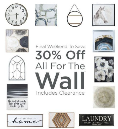 30% Off All For The Wall from Kirkland's