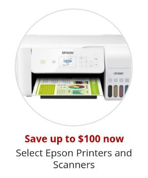 Save Up to $100 on Select Epson Printers and Scanners