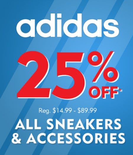 25% on All adidas Sneaker & Accessories from Shoe Carnival