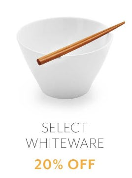 20% Off Select Whiteware from Sur La Table