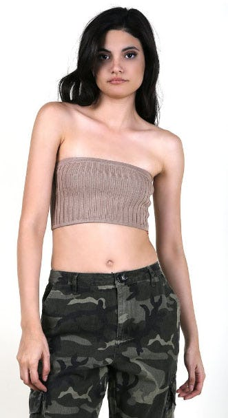 Ribbed Strapless Bandeau