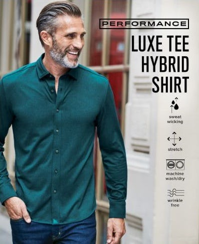 The Luxe Tee Hybrid Shirt from UNTUCKit