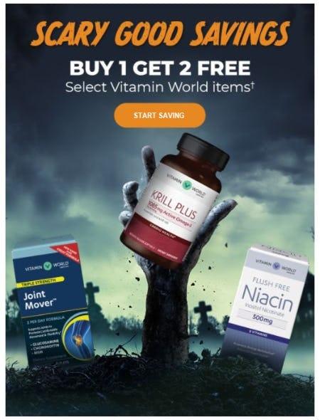 Buy 1 Get 2 Free Select Vitamin World Items