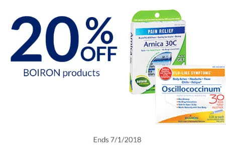 20% Off BOIRON Products from The Vitamin Shoppe