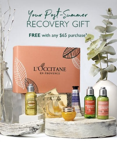 Your Post-Summer Recovery Gift Free With Any $65 Purchase from L'Occitane