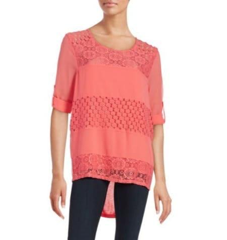 Calvin Klein Mixed-Media Lace Tunic