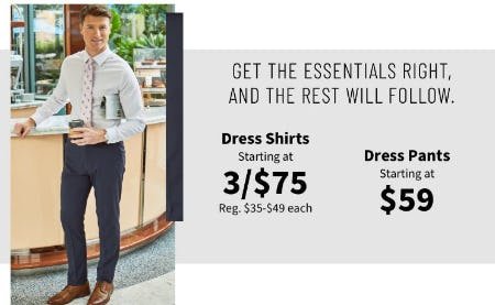 Dress Shirts Starting at 3 for $75 and Dress Pants Starting at $59 from Jos. A. Bank