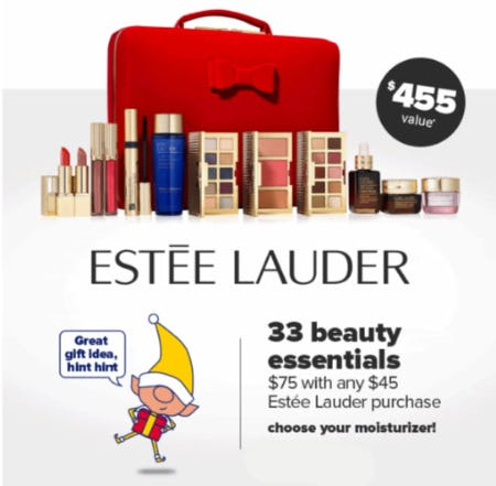 33 Beauty Essentials $75 with Any $45 Estee Lauder Purchase