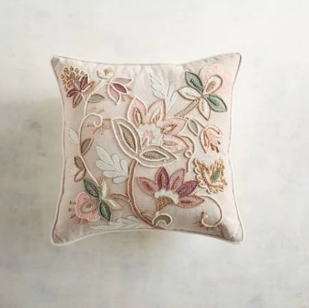 Embellished Blush Jacobean Floral Pillow from Pier 1 Imports