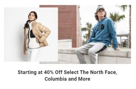 Starting at 40% Off Select The North Face, Columbia and More