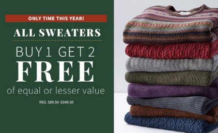 All Sweaters Buy 1, Get 2 Free from Jos. A. Bank