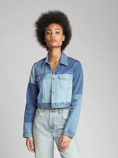 Cropped Patchwork Denim Jacket from Gap