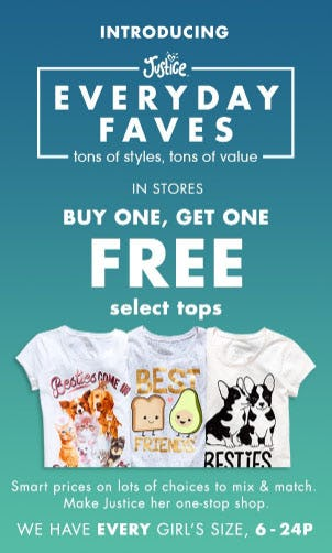 BOGO Free Select Tops from Justice