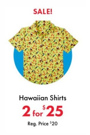 2 for $25 Hawaiian Shirts from Party City