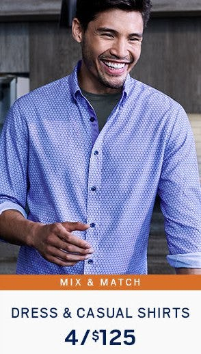 Dress & Casual Shirts 4 for $125 from Men's Wearhouse