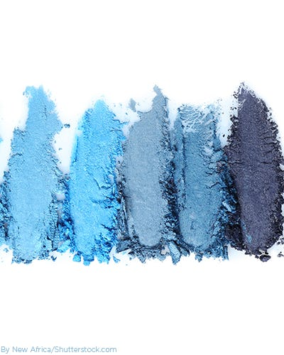 10 shades of blue eye shadow from light to dark