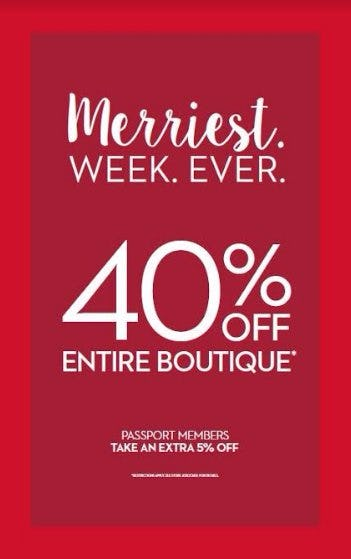 40% OFF ENTIRE BOUTIQUE