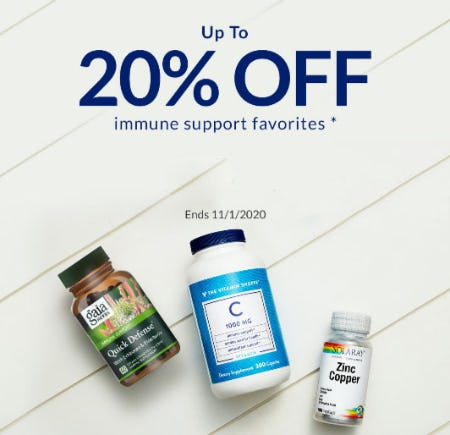 Up to 20% Off Immune Support Favorites from The Vitamin Shoppe